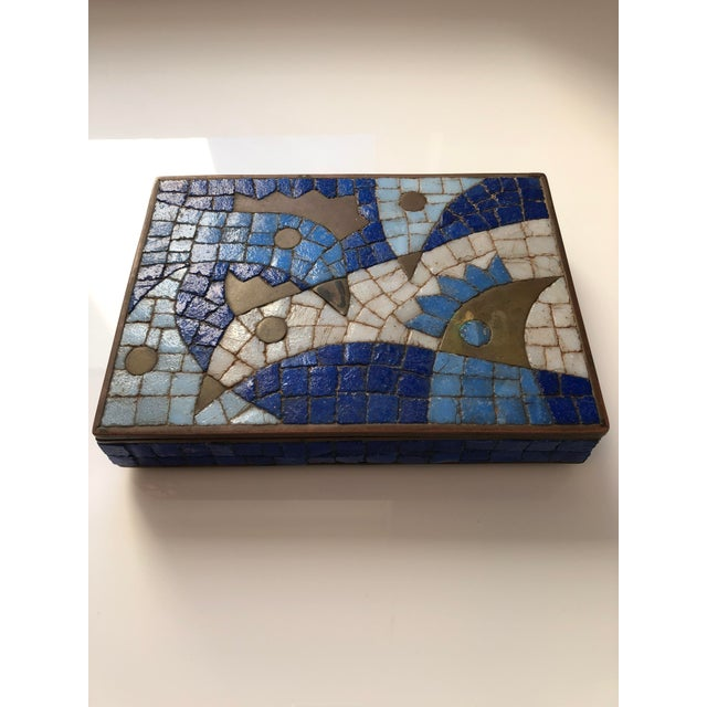 1960s Vintage Salvador Teran Mexican Modernist Brass and Glass Mosaic Box For Sale - Image 11 of 11