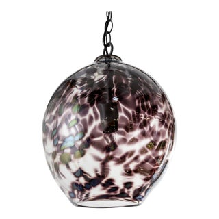Hand Blown Spotted Purple Glass Pendants For Sale