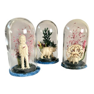"Chinese Victorian ""Lucky Elephants and Wise Woman"" Glass Domed Dried Flowers Carved Bone - Set of 3 For Sale"
