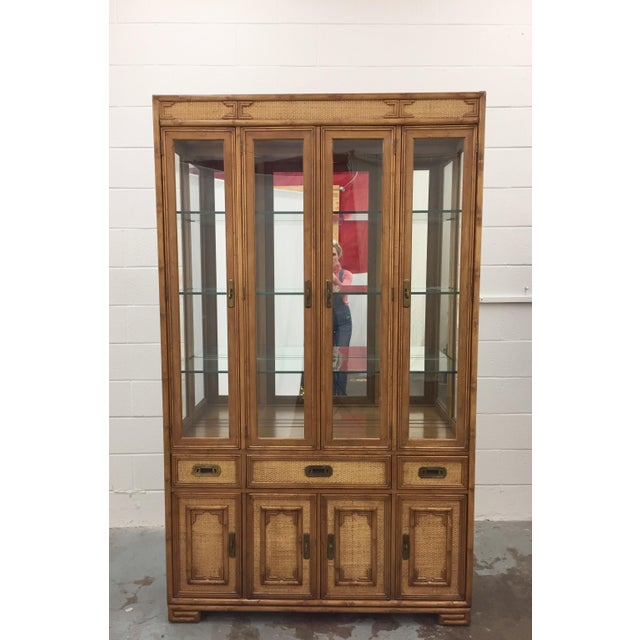 "Stunning Vintage Mid Century Chinese Chippendale Style China Cabinet from Drexel's ""Captiva"" Collection. Original Finish..."