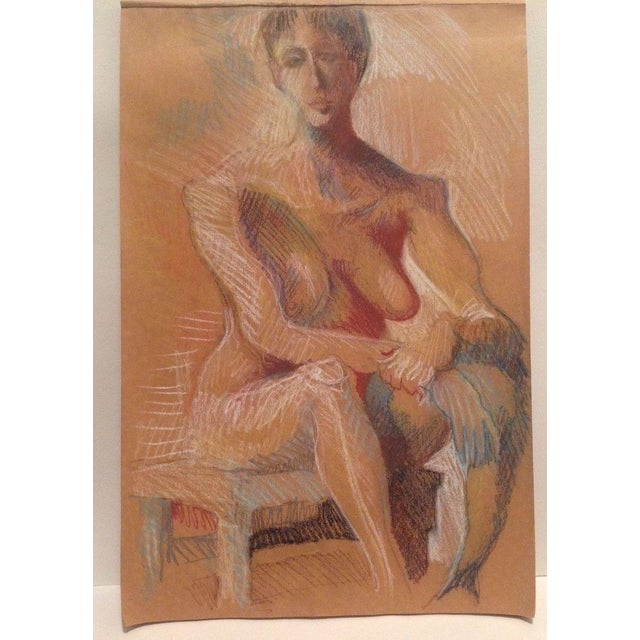 A pastel life study drawing from a vintage sketchbook that looks like the woman in gold hanging in the Neue Galerie. There...