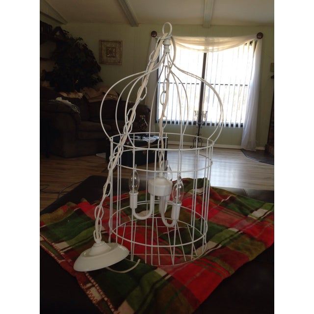 White Birdcage 3 Light Chandelier With Antique Glass Prisms - Image 5 of 9