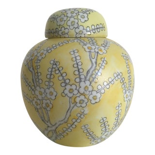 Vintage Japan Porcelain Ware Yellow & White Flower Blossoms Lidded Ginger Jar For Sale