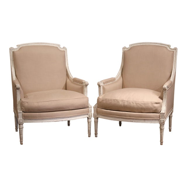 19th Century French Louis XVI Carved Painted Armchairs With Beige Fabric - a Pair For Sale