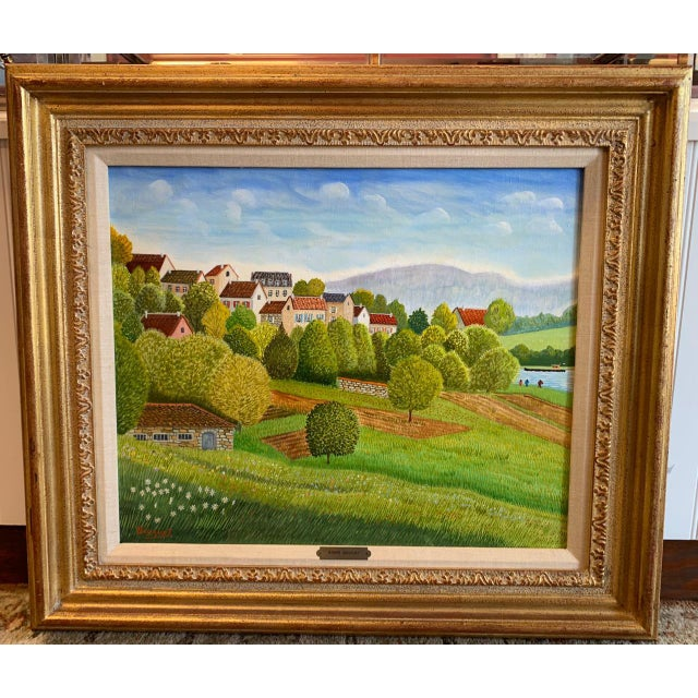 """1970s Andre Bouquet Painting """"Village De l'Ite Au France"""" For Sale - Image 11 of 11"""