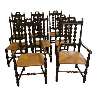 1920's Vintage Mahogany Spindle Back and Rush Seats- Set of 8 For Sale
