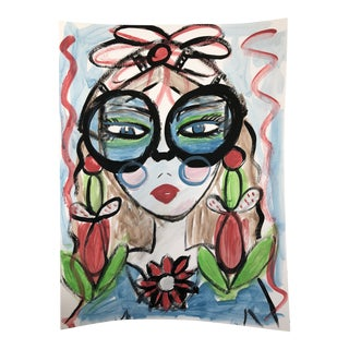 """Anastasia George """"Out for Lunch"""" Original Acrylic Face Painting For Sale"""