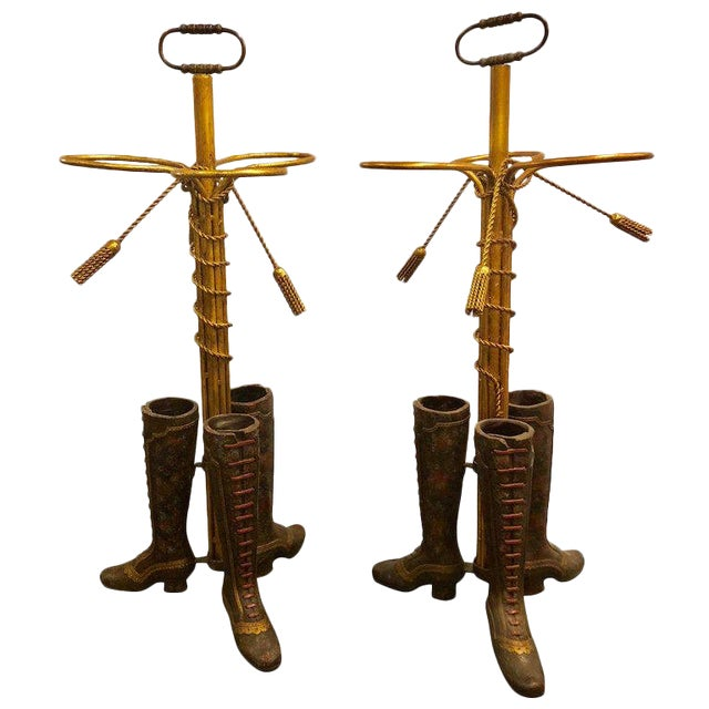 A Pair of Umbrella Stands Each Depicting Painted Boots on Bronze From Base For Sale