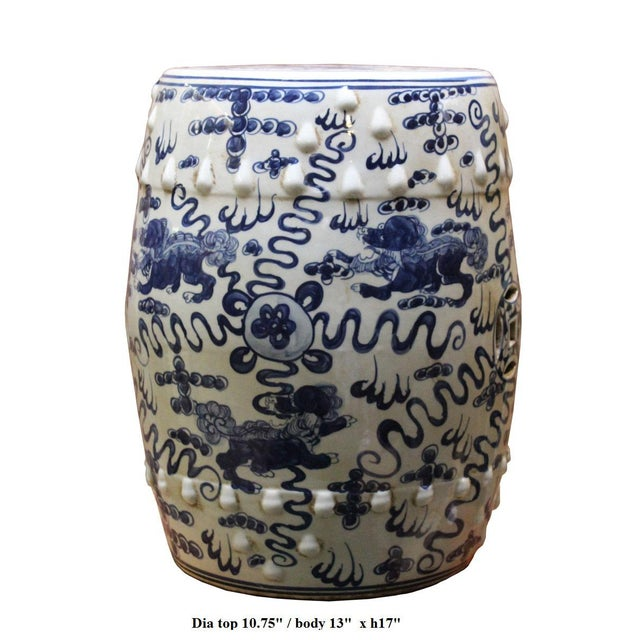 Chinese Blue & White Porcelain Foo Dogs Stool - Image 6 of 6