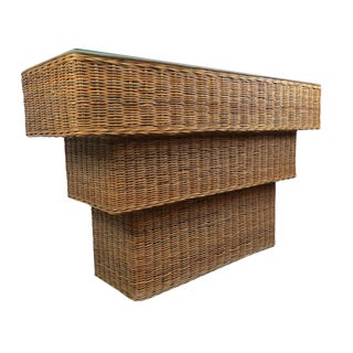 1970s Hollywood Regency Wicker Rattan Console Table For Sale
