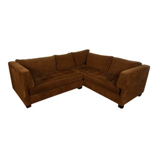 Chocolate Chenille Sectional Sofa For Sale