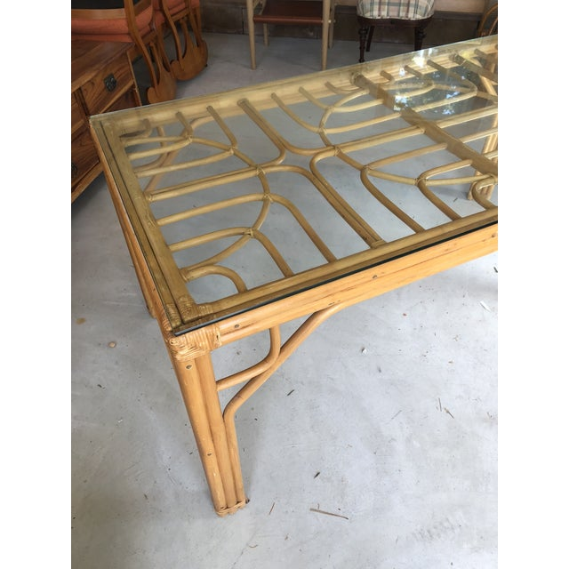 Great vintage bamboo dining table or desk with removable glass top. Chair clearance 25.""