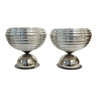 1960s Castiglioni for Flos Silver Tone Round Polished Aluminum Table Lamps - a Pair For Sale