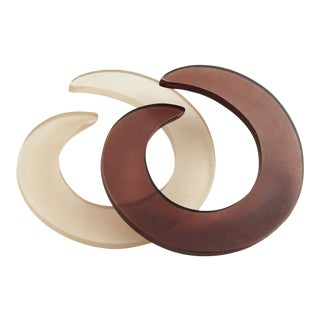 Italian Flat Lucite Coiled Bangle Bracelet - a Pair For Sale