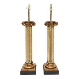 Large Scale Murano Neo-Classical Hollywood Regency Golden Finish Tall Column Lamps - a Pair For Sale