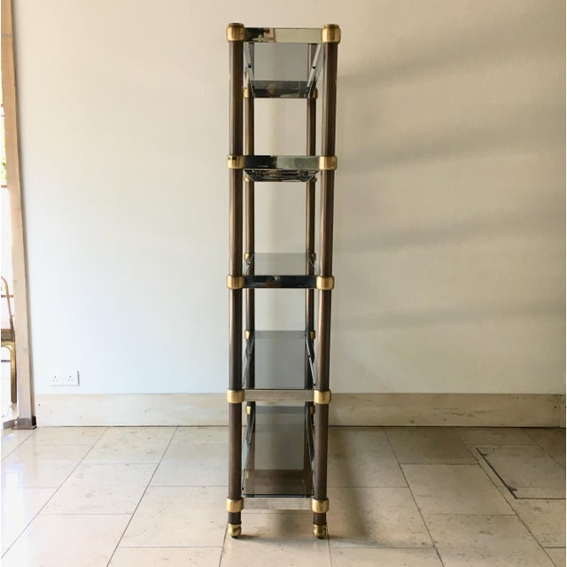 French French Five Tier Copper, Brass and Chrome Etagere 1970s For Sale - Image 3 of 6