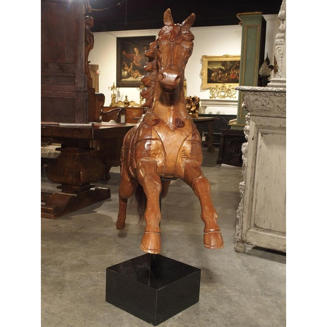 Metal Circa 1900 Wooden Jumping Horse on Stand From Barcelona Spain For Sale - Image 7 of 13