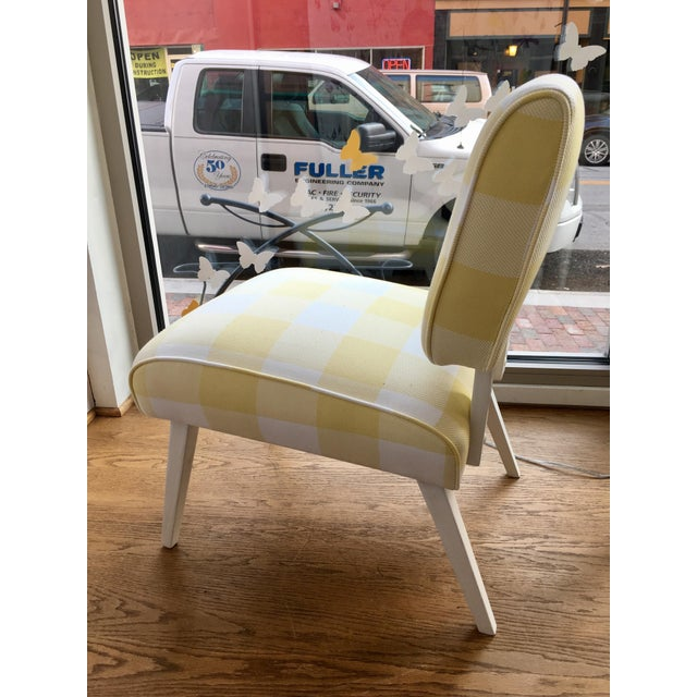 Mid-Century Yellow & White Gingham Chair - Image 4 of 6