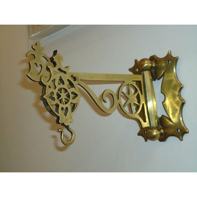 Mid 19th Century 19th Century Rare New England Brass Wall Bracket with Hearts & Stars For Sale - Image 5 of 9