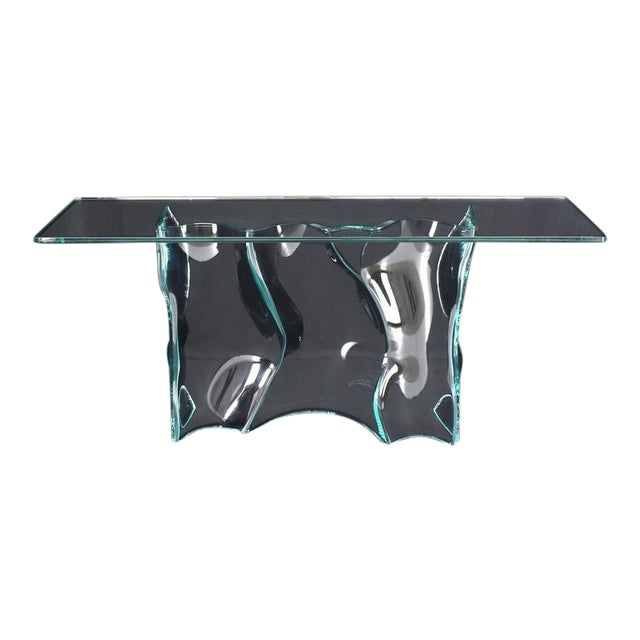 Outstanding Free-Form Molded Glass Wave Pattern Console Table For Sale