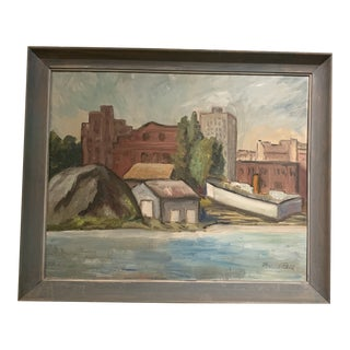 Industrial Port Ballard Harbor Scene Florence Bell Landscape Painting For Sale