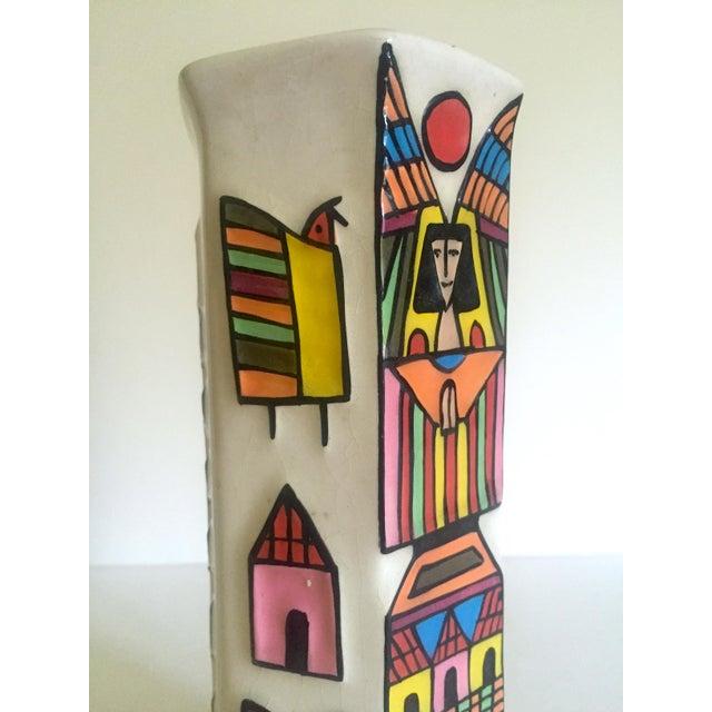 Vintage Mid Century Modern El Salavdor Rare Art Pottery Hand Painted Signed Angel Vase For Sale - Image 9 of 13