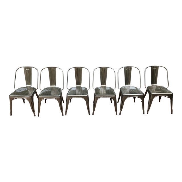 Industrial Tolix Style Marais Bistro Chairs - Set of 6 For Sale