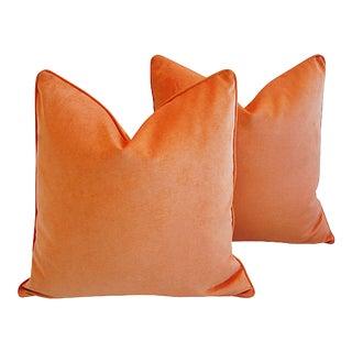 "Tangerine Orange Cotton Velvet Feather/Down Pillows 20"" Square - Pair For Sale"
