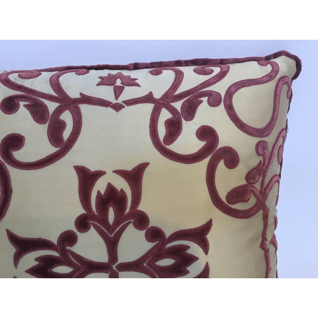 Red Moroccan Silk Velvet Applique Throw Decorative Pillow With Tassels Moroccan For Sale - Image 8 of 10
