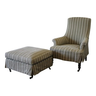 Napoleon Style Linen Stripe Slip Cover Chair and Ottoman For Sale