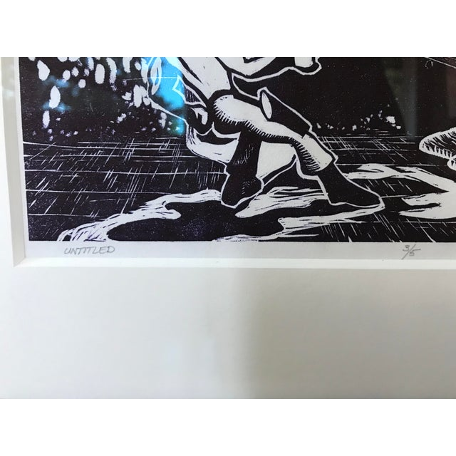 1970s Vintage Abstract Sci Fi Comic Block Print Lithograph For Sale - Image 5 of 8