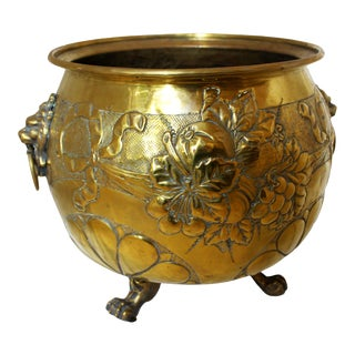 C. 1870s Repousse Brass Jardinere For Sale