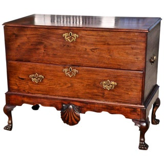 Period Early 18th Century Irish Mahogany Blanket Chest on Stand