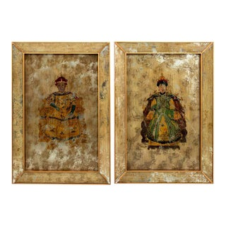 1970s Chinese Ancestor Portraits on Mirrors- a Pair For Sale