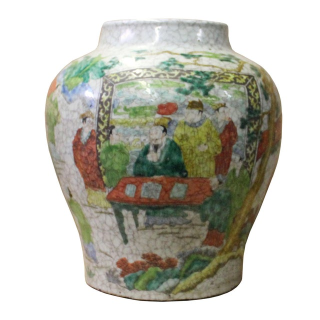 Ceramic Chinese Handmade Gray White Crackle Base People Graphic Ceramic Pot Jar For Sale - Image 7 of 9