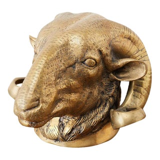 Italian Patinated Brass Big Horn Ram's Head For Sale
