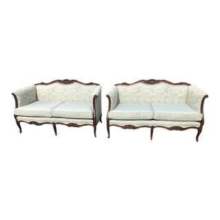 Antique Style Mahogany Settees - a Pair For Sale