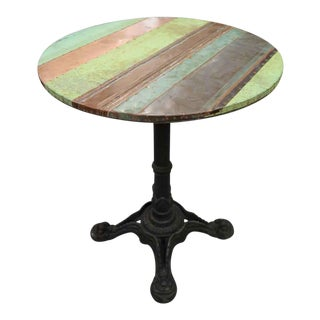 Copper Patch Ornate Iron Base Bistro Table