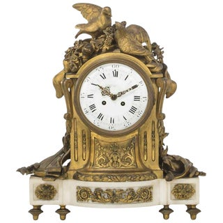 French White Marble Clock Retailed by Tiffany, 19th Century For Sale