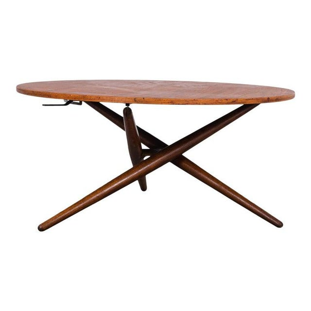 Mid-Century Modern Jurg Bally Adjustable Wooden Table For Sale - Image 9 of 9