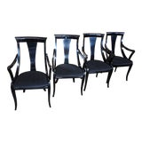 Image of 1970s Vintage Pietro Costantini Italy Ello Sculptural Black Lacquer Dining Chairs - Set of 4 For Sale
