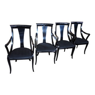 1970s Vintage Pietro Costantini Italy Ello Sculptural Black Lacquer Dining Chairs - Set of 4 For Sale