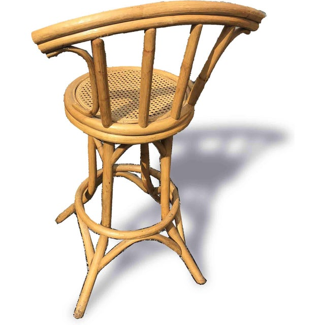 Mid-Century Bamboo and Cane Tiki Bar Stools - 5 Pc. Set For Sale - Image 4 of 9