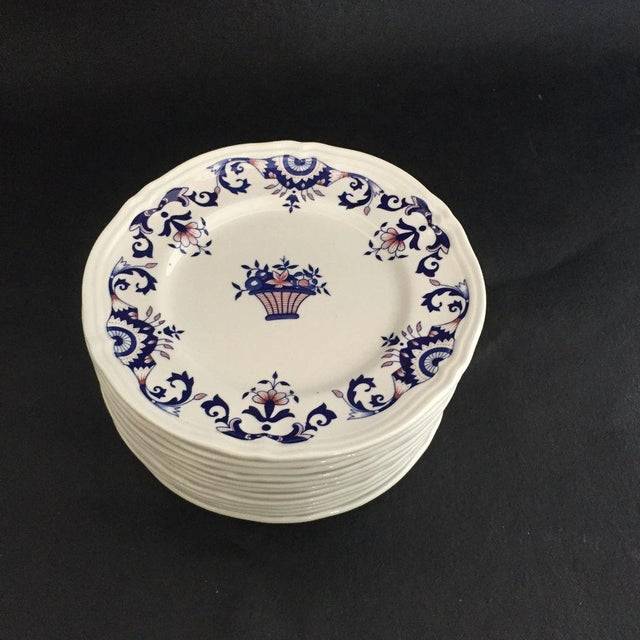 Cottage Vintage Hand Painted French Bread Plates - Set of 12 For Sale - Image 3 of 5