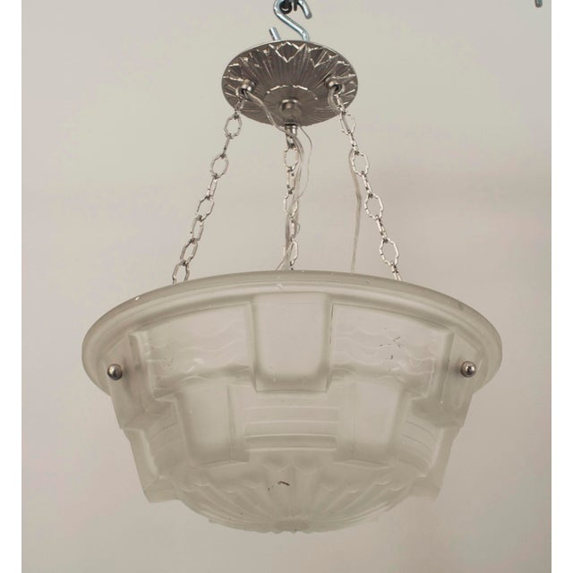 Art Deco French Art Deco Frosted Glass 2-tier Pendant Bowl Form Chandelier For Sale - Image 3 of 3