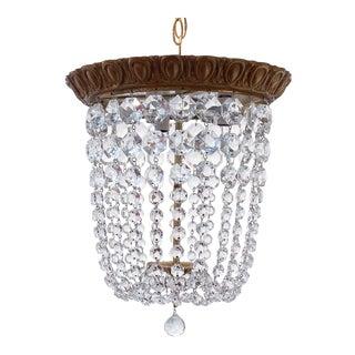 Vintage Brass Basket Chandelier For Sale