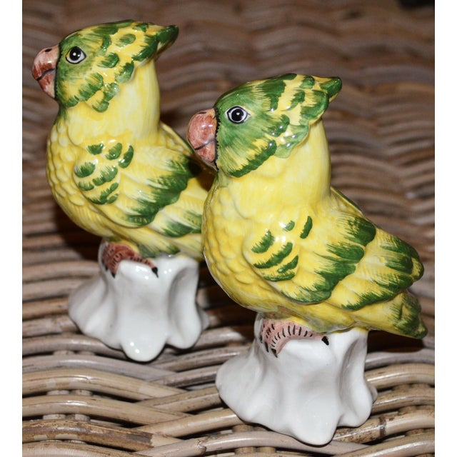 1970s Italian Majolica Pottery Parakeets - a Pair For Sale In Houston - Image 6 of 11