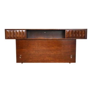 1960s Mid-Century Modern Queen/Full Headboard with Storage For Sale