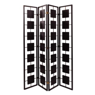 Mid Century Black & Brass 4 Panel Room Screen For Sale