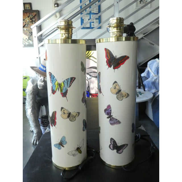 Fornasetti Butterfly Table Lamps in White, 1960s - a Pair For Sale - Image 12 of 12